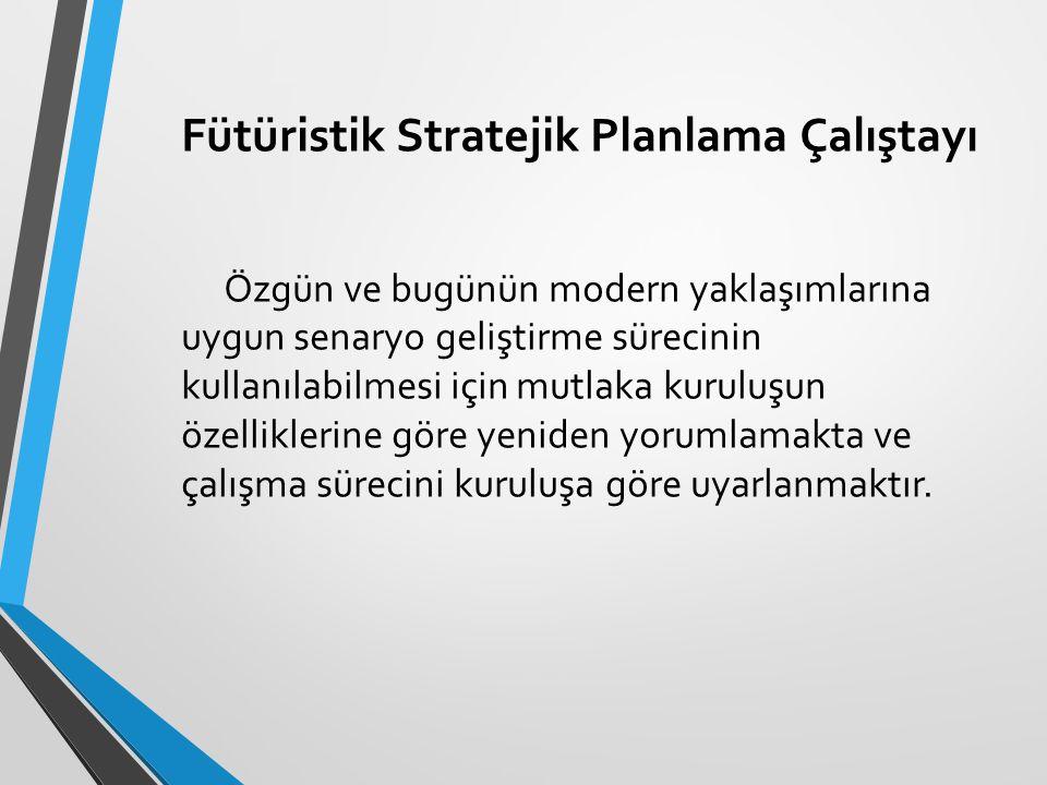 Fütüristik Stratejik Planlama Çalıştayı Özgün ve bugünün modern yaklaşımlarına uygun senaryo geliştirme sürecinin kullanılabilmesi için mutlaka kurulu