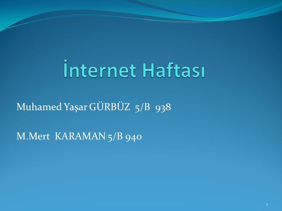 Muhamed Yaşar GÜRBÜZ 5/B 938 M.Mert KARAMAN 5/B 940 1
