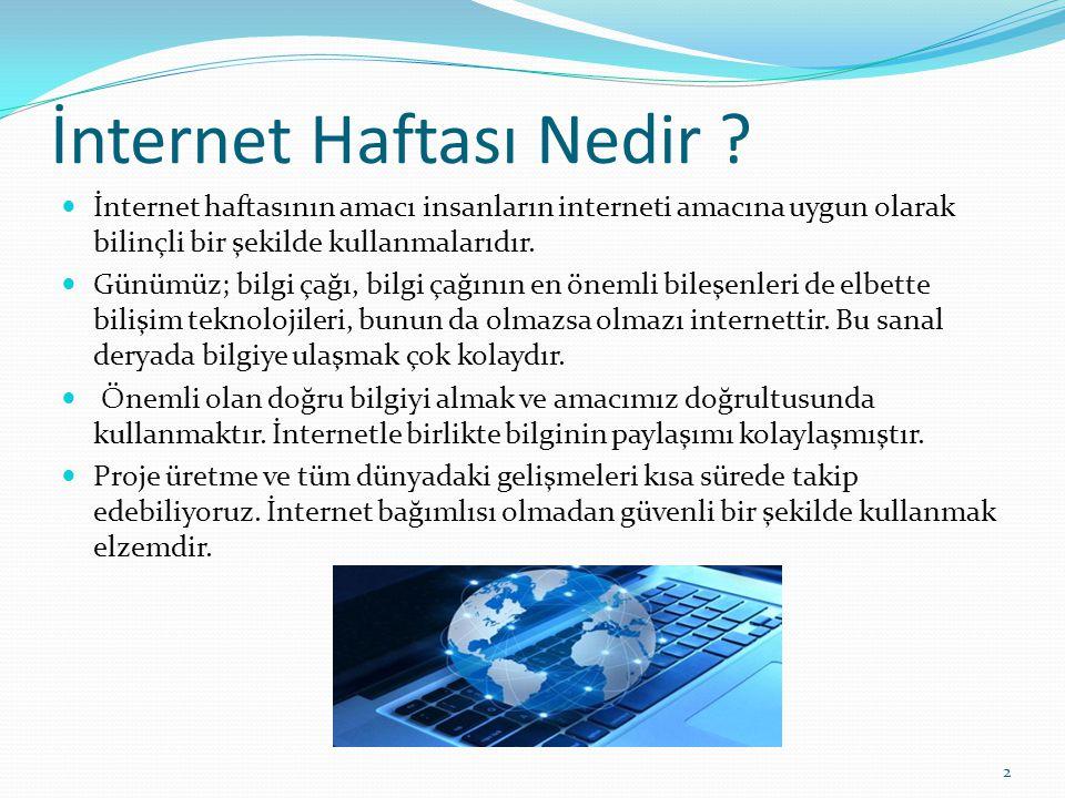 İnternet Haftası Nedir ? İnternet haftasının amacı insanların interneti amacına uygun olarak bilinçli bir şekilde kullanmalarıdır. Günümüz; bilgi çağı