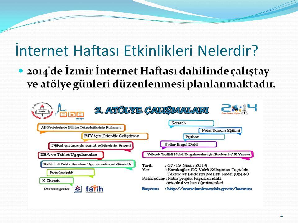 İnternet Haftası Etkinlikleri Nelerdir? 2014'de İzmir İnternet Haftası dahilinde çalıştay ve atölye günleri düzenlenmesi planlanmaktadır. 4