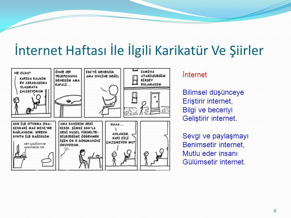 İnternet Haftası İle İlgili Karikatür Ve Şiirler İnternet Bilimsel düşünceye Eriştirir internet, Bilgi ve beceriyi Geliştirir internet. Sevgi ve payla