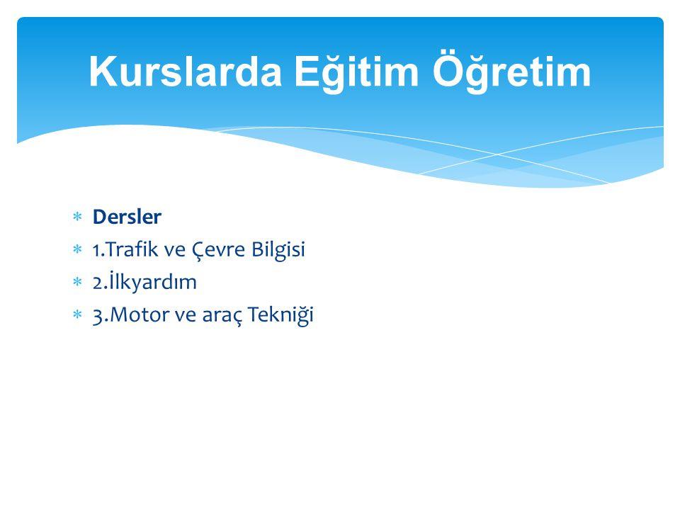  Dersler  1.Trafik ve Çevre Bilgisi  2.İlkyardım  3.Motor ve araç Tekniği Kurslarda Eğitim Öğretim