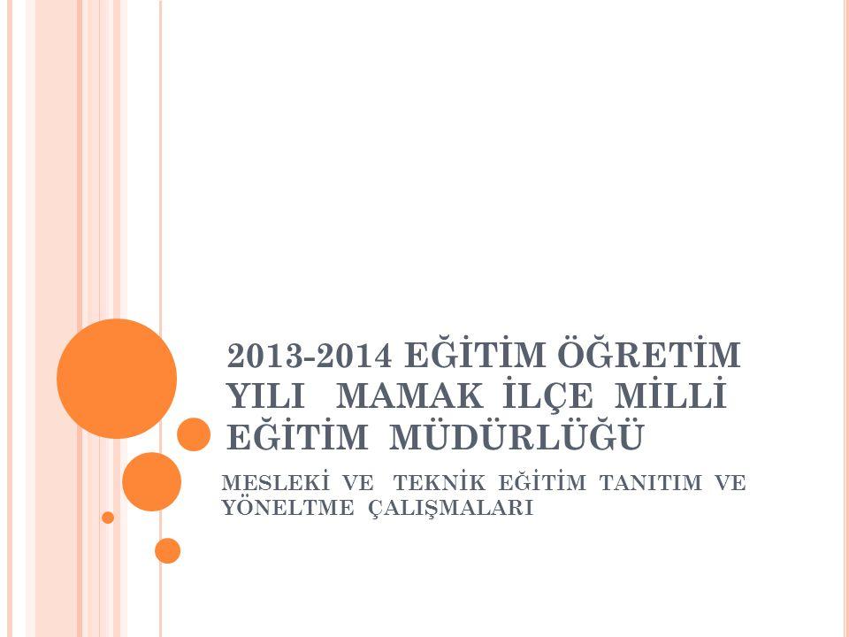 T OPLANTıNıN AMACı ; 2013-2014 Eğitim-Öğretim yılı, Ankara İl Milli Eğitim Müdürlüğü'nün Mesleki ve Teknik Eğitim Tanıtım ve Yöneltme çalışmalarıyla ilgili yapılan toplantıda anlatılanları aktarmak; ilçelerden ve okullardan beklentileri ifade etmek, Okullarda yürütülen Mesleki ve Teknik Eğitim Tanıtım ve Yöneltme çalışmalarını gözden geçirmek, yapılan değişikliklerle ilgili bilgi vermektir.