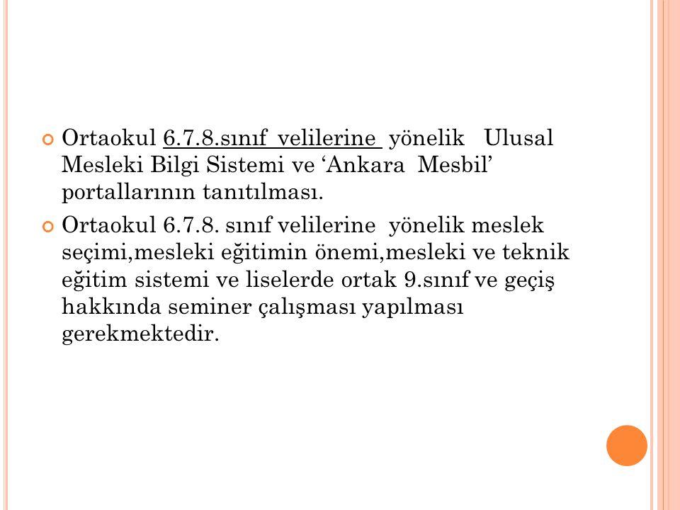 Ortaokul 6.7.8.sınıf velilerine yönelik Ulusal Mesleki Bilgi Sistemi ve 'Ankara Mesbil' portallarının tanıtılması. Ortaokul 6.7.8. sınıf velilerine yö