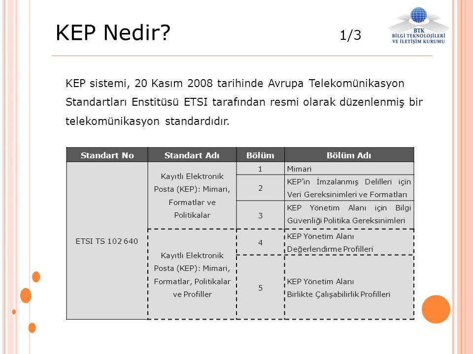KEP Nedir? 1/3 KEP sistemi, 20 Kasım 2008 tarihinde Avrupa Telekomünikasyon Standartları Enstitüsü ETSI tarafından resmi olarak düzenlenmiş bir teleko