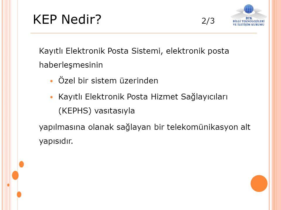 KEP Nedir? 2/3 Kayıtlı Elektronik Posta Sistemi, elektronik posta haberleşmesinin Özel bir sistem üzerinden Kayıtlı Elektronik Posta Hizmet Sağlayıcıl