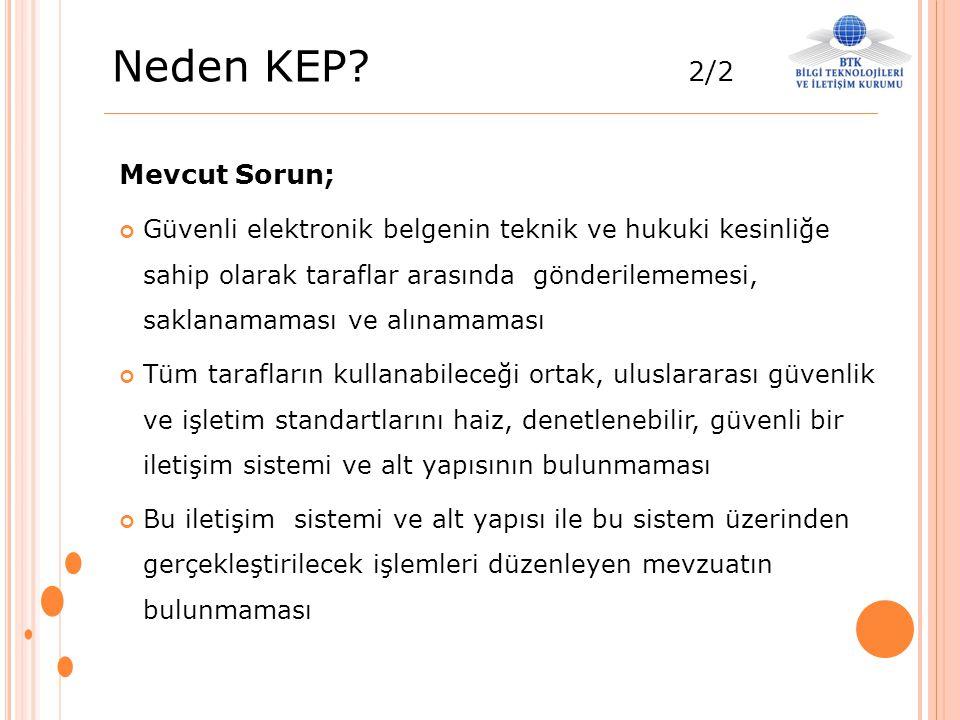 Neden KEP? 2/2 Mevcut Sorun; Güvenli elektronik belgenin teknik ve hukuki kesinliğe sahip olarak taraflar arasında gönderilememesi, saklanamaması ve a