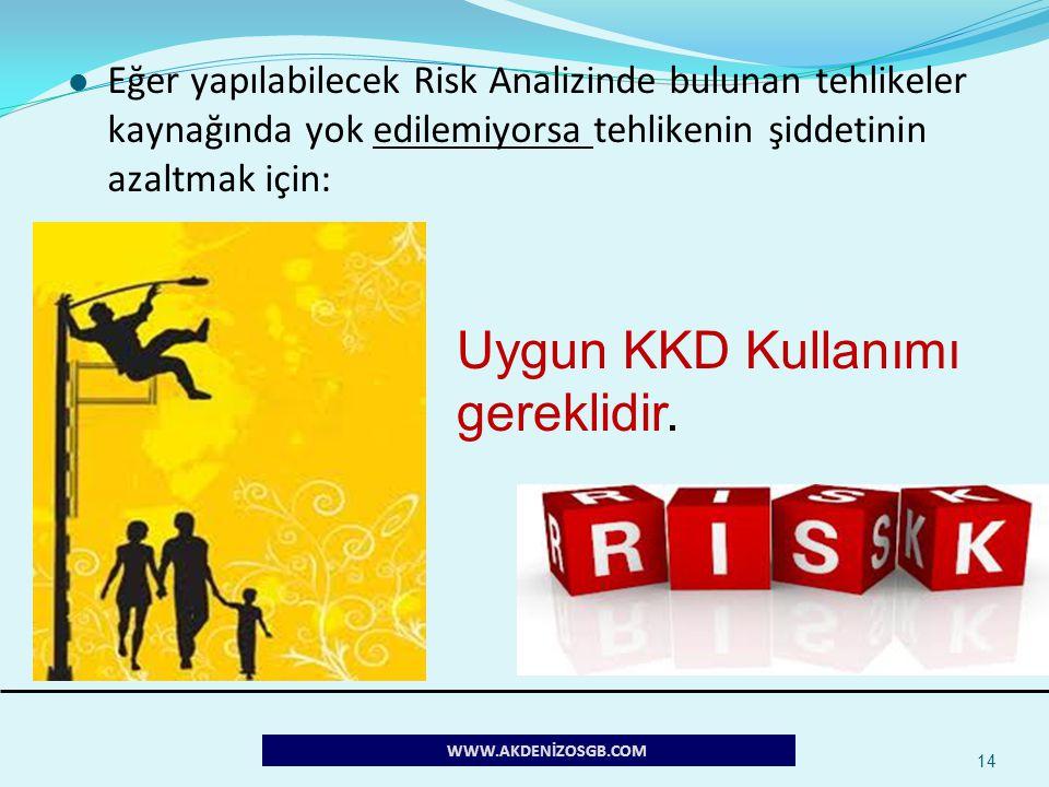 14 Eğer yapılabilecek Risk Analizinde bulunan tehlikeler kaynağında yok edilemiyorsa tehlikenin şiddetinin azaltmak için: Uygun KKD Kullanımı gereklid