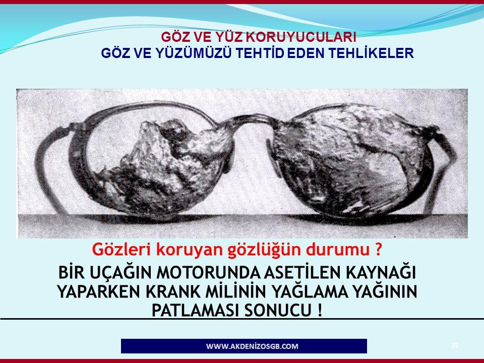 35 Gözleri koruyan gözlüğün durumu ? BİR UÇAĞIN MOTORUNDA ASETİLEN KAYNAĞI YAPARKEN KRANK MİLİNİN YAĞLAMA YAĞININ PATLAMASI SONUCU ! WWW.AKDENİZOSGB.C