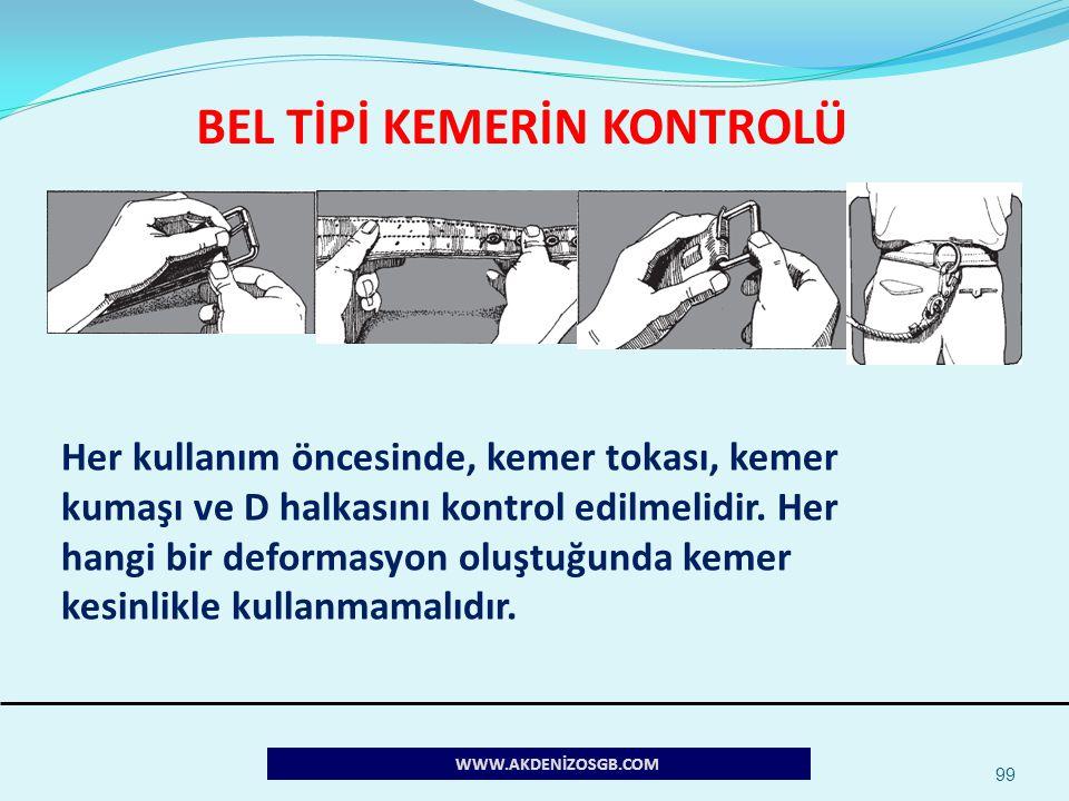 BEL TİPİ KEMERİN KONTROLÜ 99 Her kullanım öncesinde, kemer tokası, kemer kumaşı ve D halkasını kontrol edilmelidir. Her hangi bir deformasyon oluştuğu