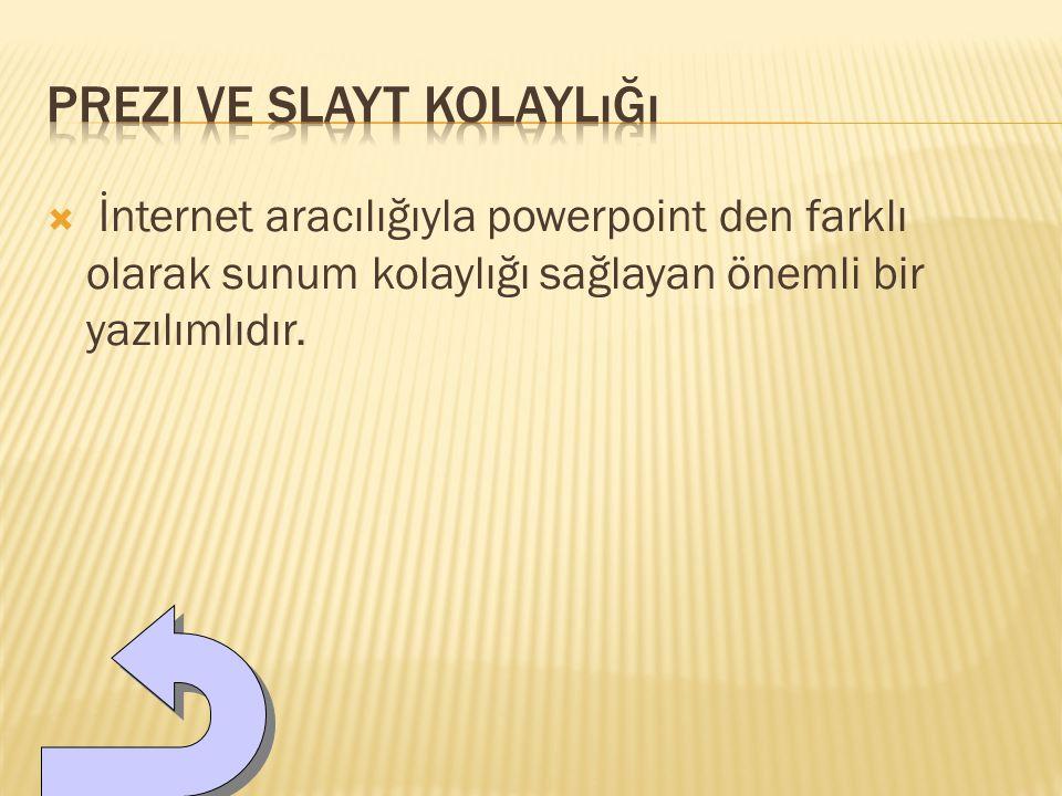  İnternet aracılığıyla powerpoint den farklı olarak sunum kolaylığı sağlayan önemli bir yazılımlıdır.