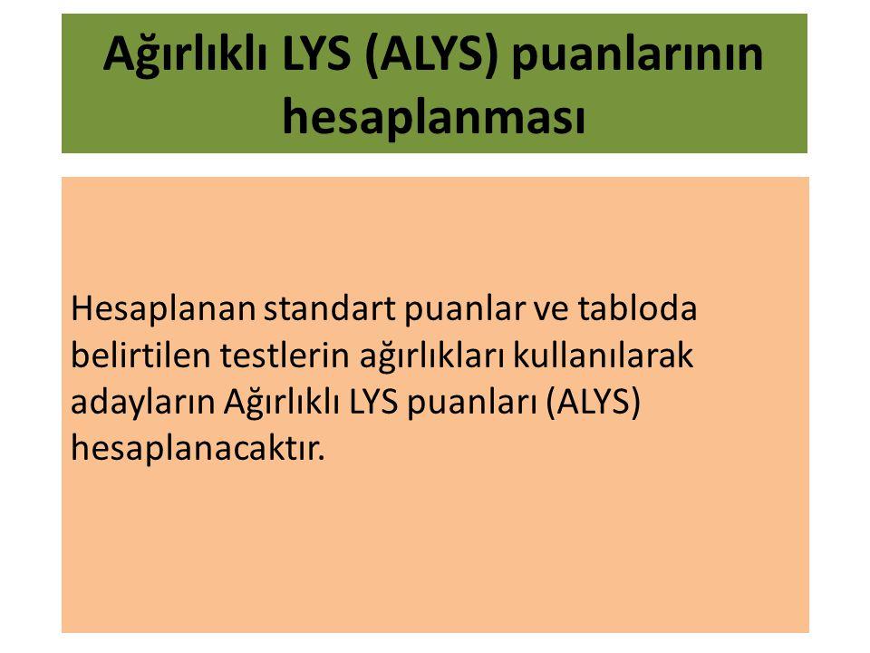 Hesaplanan standart puanlar ve tabloda belirtilen testlerin ağırlıkları kullanılarak adayların Ağırlıklı LYS puanları (ALYS) hesaplanacaktır.