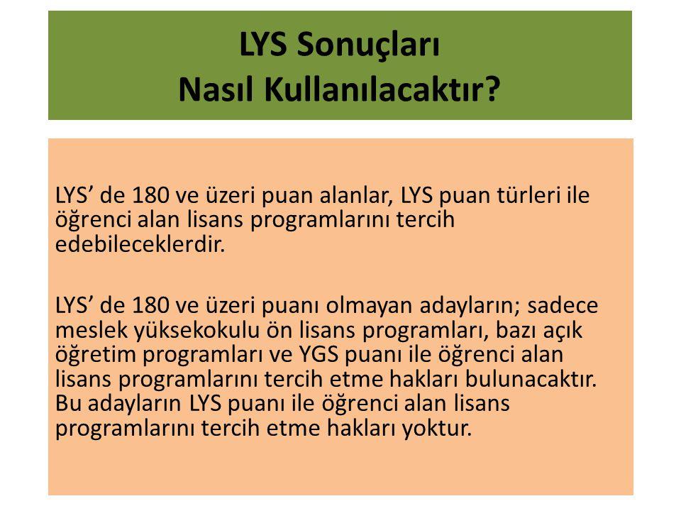 LYS' de 180 ve üzeri puan alanlar, LYS puan türleri ile öğrenci alan lisans programlarını tercih edebileceklerdir.
