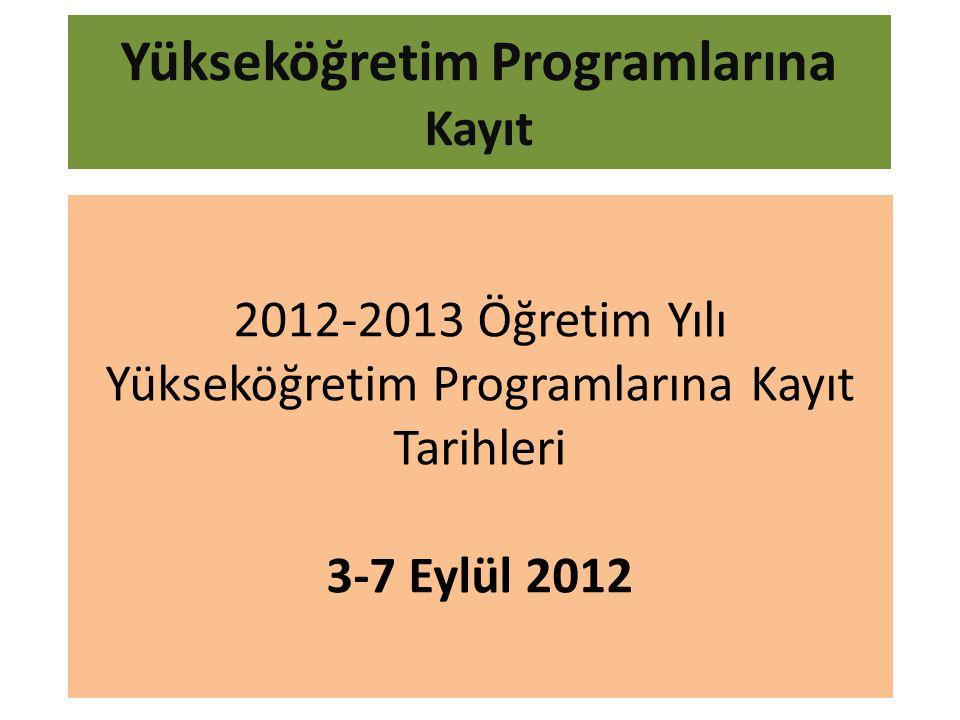 Yükseköğretim Programlarına Kayıt 2012-2013 Öğretim Yılı Yükseköğretim Programlarına Kayıt Tarihleri 3-7 Eylül 2012