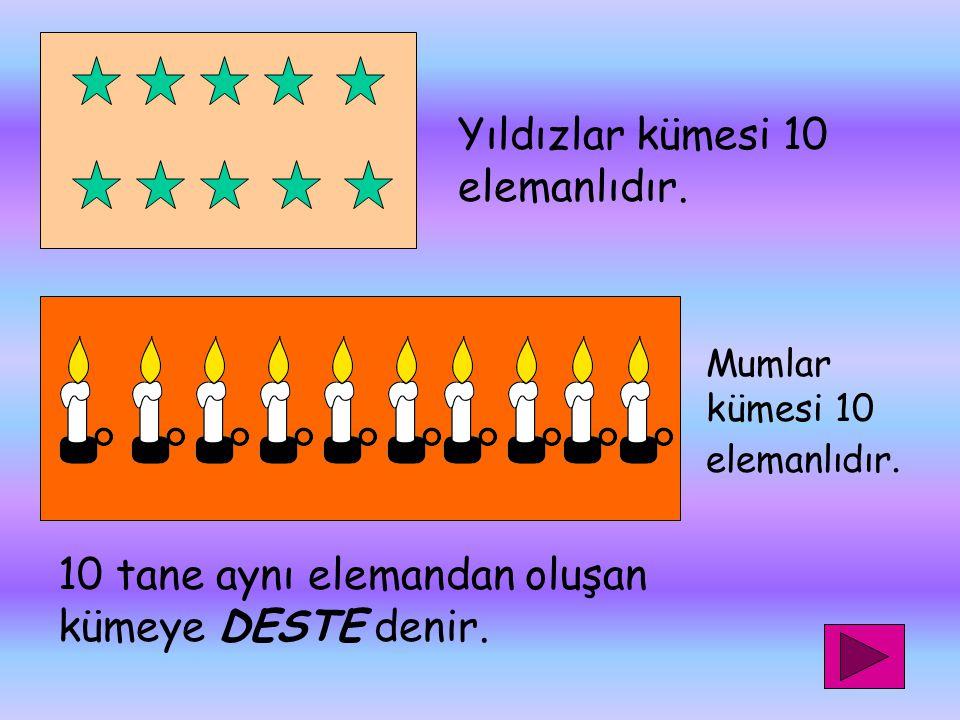 Yıldızlar kümesi 10 elemanlıdır.Mumlar kümesi 10 elemanlıdır.