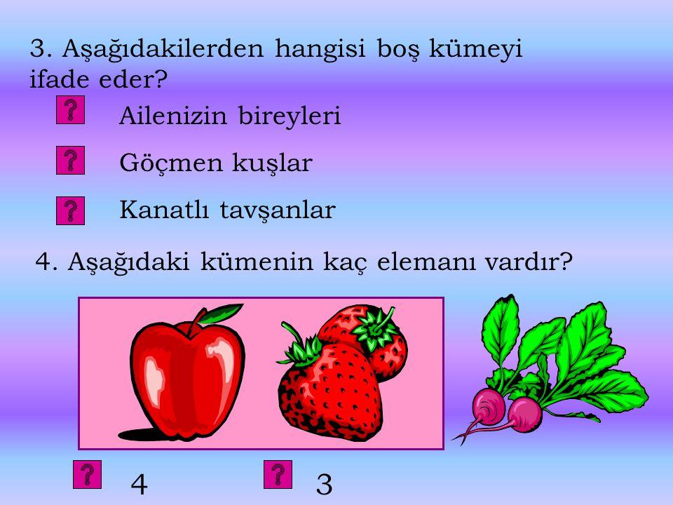3.Aşağıdakilerden hangisi boş kümeyi ifade eder.