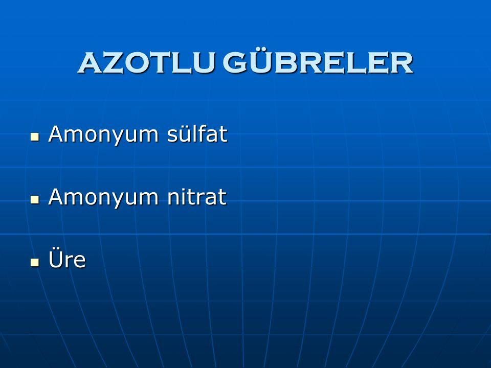 AZOTLU GÜBRELER Amonyum sülfat Amonyum sülfat Amonyum nitrat Amonyum nitrat Üre Üre