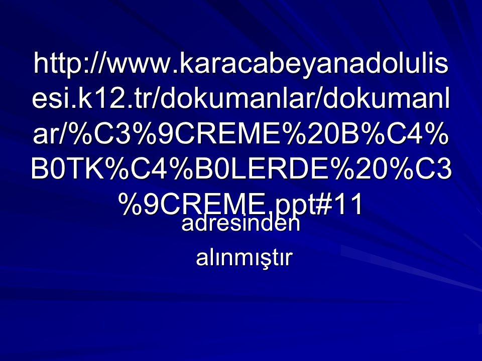 http://www.karacabeyanadolulis esi.k12.tr/dokumanlar/dokumanl ar/%C3%9CREME%20B%C4% B0TK%C4%B0LERDE%20%C3 %9CREME.ppt#11 adresinden alınmıştır alınmış