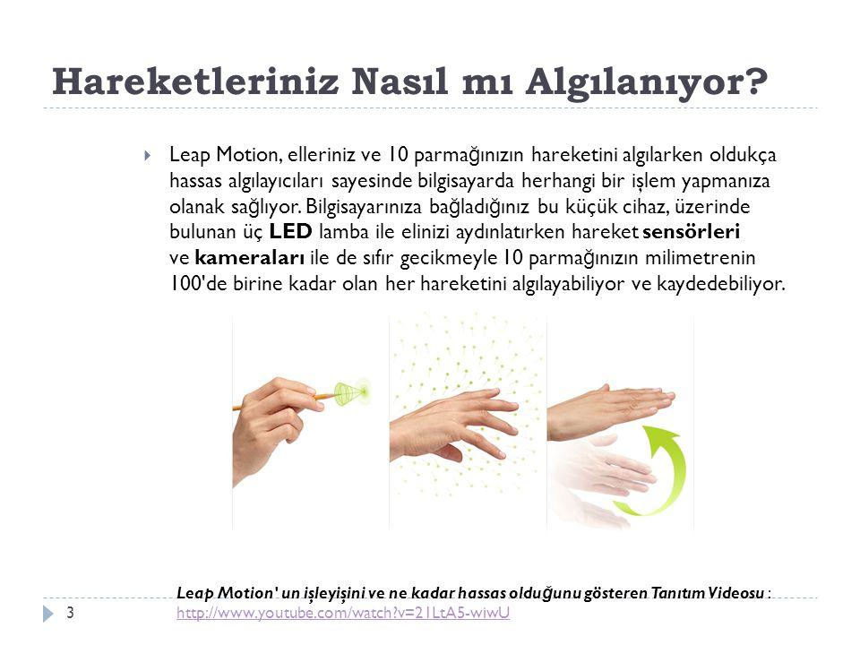 Hareketleriniz Nasıl mı Algılanıyor? 3  Leap Motion, elleriniz ve 10 parma ğ ınızın hareketini algılarken oldukça hassas algılayıcıları sayesinde bil