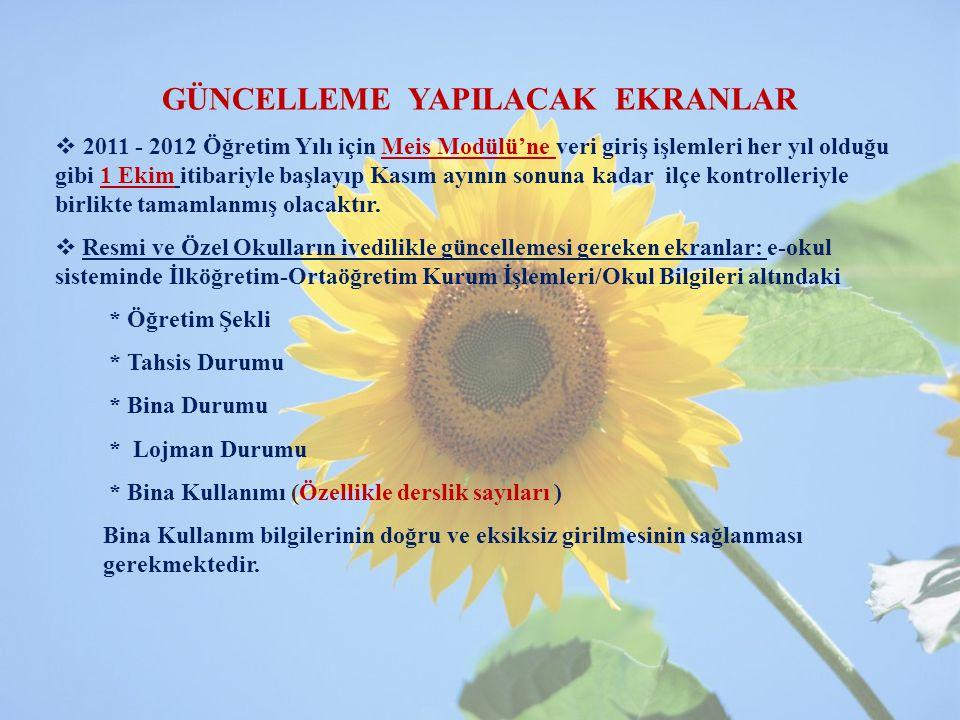 GÜNCELLEME YAPILACAK EKRANLAR   2011 - 2012 Öğretim Yılı için Meis Modülü'ne veri giriş işlemleri her yıl olduğu gibi 1 Ekim itibariyle başlayıp Kas