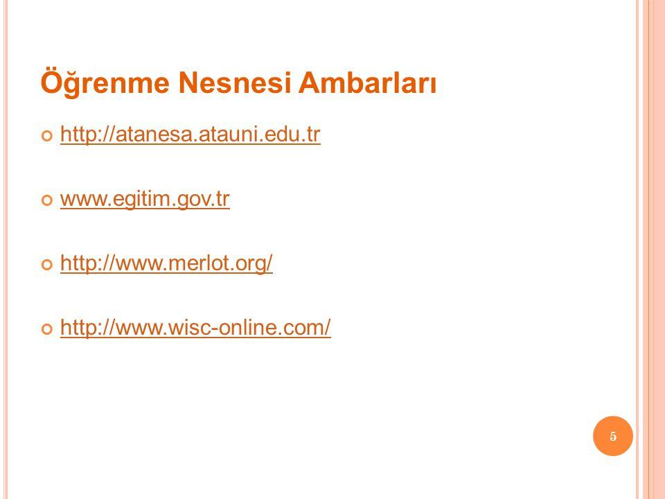 Öğrenme Nesnesi Ambarları http://atanesa.atauni.edu.tr www.egitim.gov.tr http://www.merlot.org/ http://www.wisc-online.com/ 5