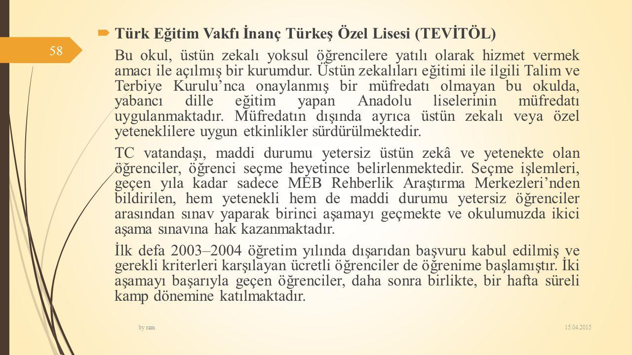  Türk Eğitim Vakfı İnanç Türkeş Özel Lisesi (TEVİTÖL) Bu okul, üstün zekalı yoksul öğrencilere yatılı olarak hizmet vermek amacı ile açılmış bir kuru