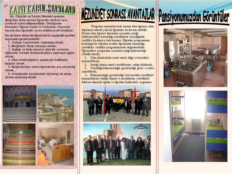 An. Otelcilik ve Turizm Meslek Lisesine ; ilköğretim okulu mezunu öğrenciler merkezi sınav sistemi ile kabul edilmektedirler. Ortaöğretim Kurumları Öğ