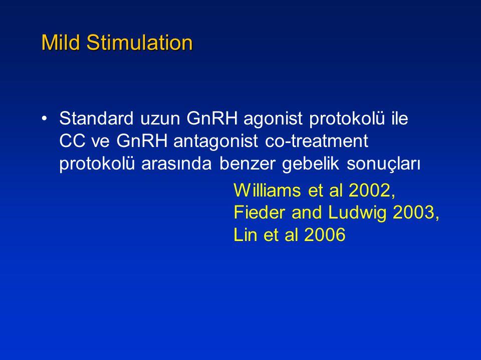 Mild Stimulation Standard uzun GnRH agonist protokolü ile CC ve GnRH antagonist co-treatment protokolü arasında benzer gebelik sonuçları Williams et a