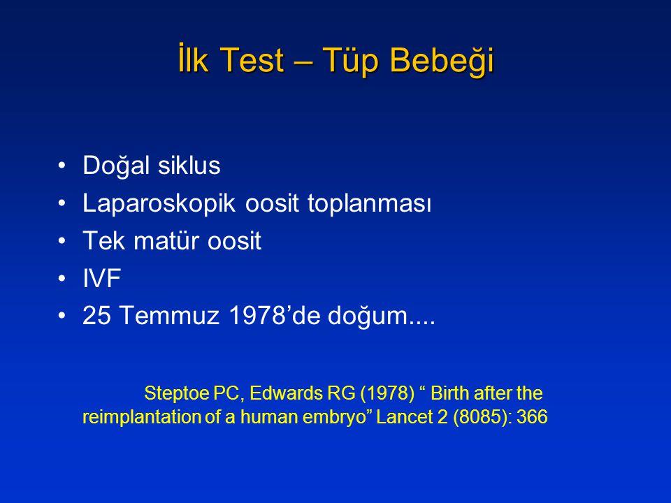 """İlk Test – Tüp Bebeği Doğal siklus Laparoskopik oosit toplanması Tek matür oosit IVF 25 Temmuz 1978'de doğum.... Steptoe PC, Edwards RG (1978) """" Birth"""