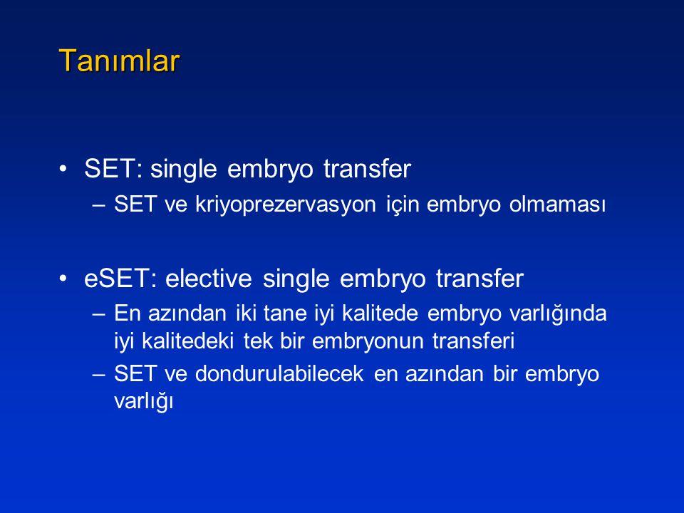 Tanımlar SET: single embryo transfer –SET ve kriyoprezervasyon için embryo olmaması eSET: elective single embryo transfer –En azından iki tane iyi kal