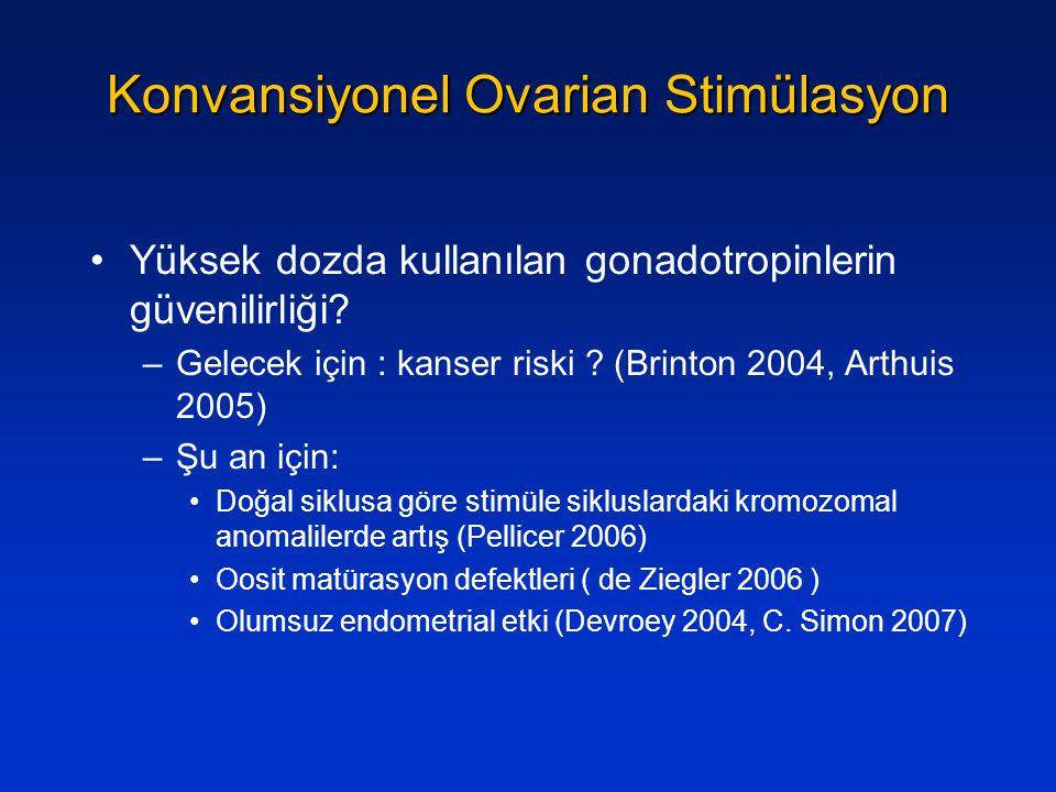Konvansiyonel Ovarian Stimülasyon Yüksek dozda kullanılan gonadotropinlerin güvenilirliği? –Gelecek için : kanser riski ? (Brinton 2004, Arthuis 2005)