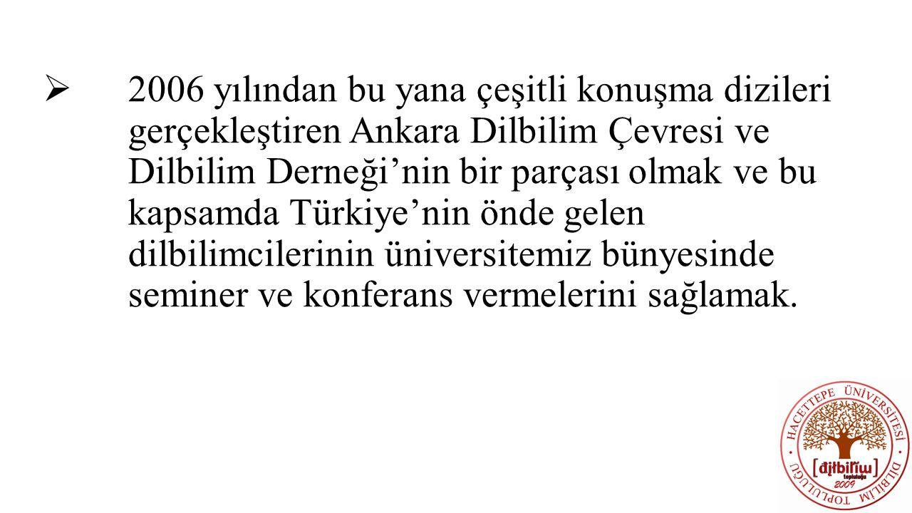  2006 yılından bu yana çeşitli konuşma dizileri gerçekleştiren Ankara Dilbilim Çevresi ve Dilbilim Derneği'nin bir parçası olmak ve bu kapsamda Türki