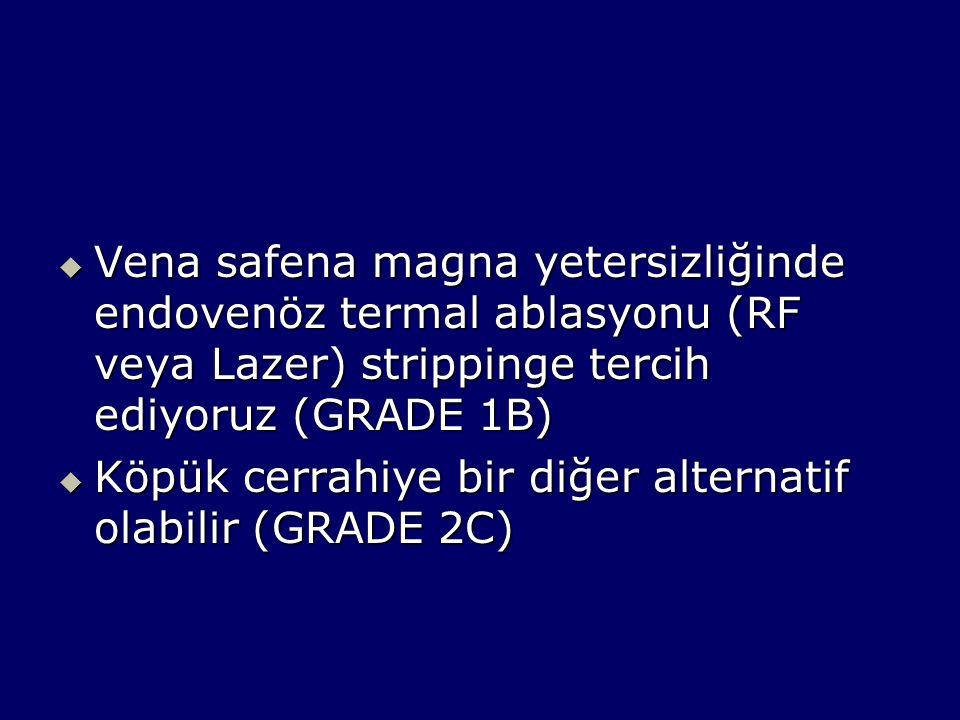  Vena safena magna yetersizliğinde endovenöz termal ablasyonu (RF veya Lazer) strippinge tercih ediyoruz (GRADE 1B)  Köpük cerrahiye bir diğer alternatif olabilir (GRADE 2C)