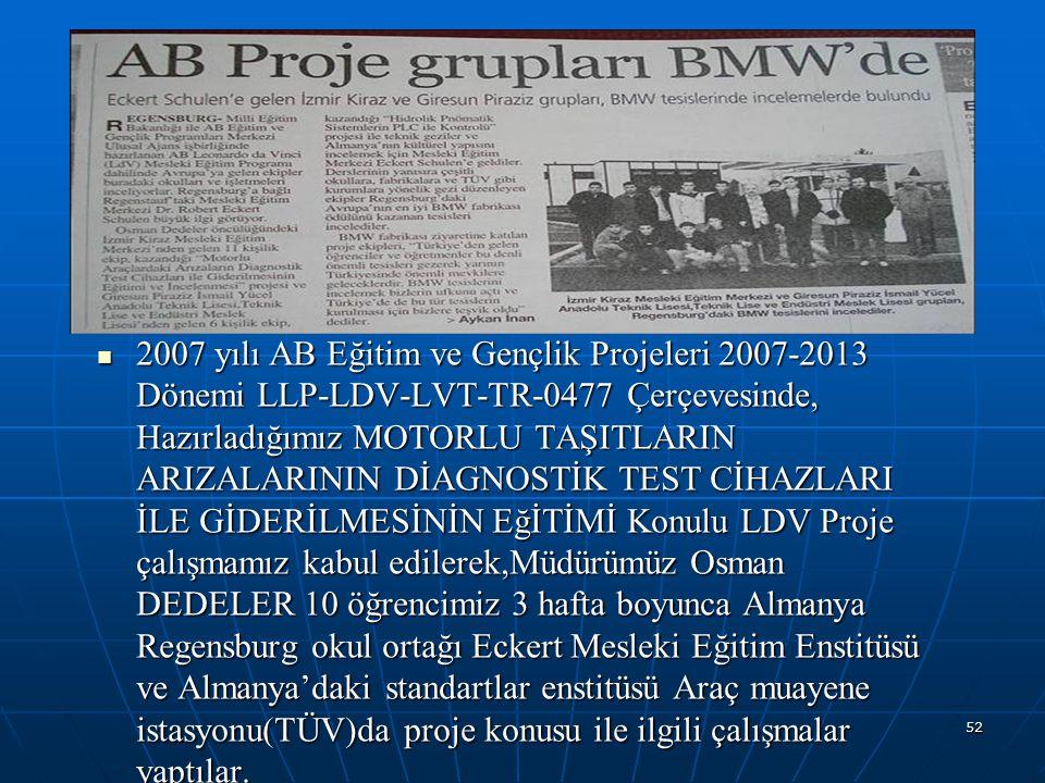 52 2007 yılı AB Eğitim ve Gençlik Projeleri 2007-2013 Dönemi LLP-LDV-LVT-TR-0477 Çerçevesinde, Hazırladığımız MOTORLU TAŞITLARIN ARIZALARININ DİAGNOST