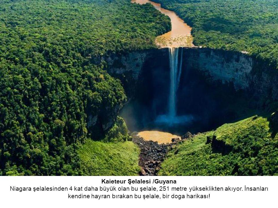 Kaieteur Şelalesi /Guyana Niagara şelalesinden 4 kat daha büyük olan bu şelale, 251 metre yükseklikten akıyor.