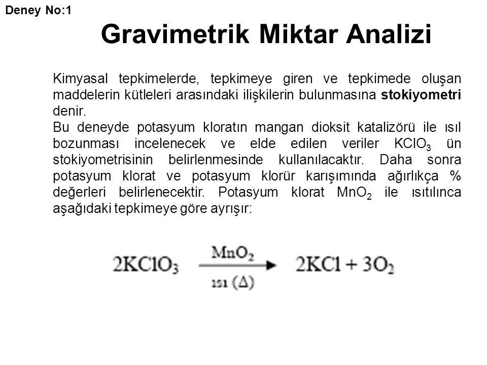 Gravimetrik Miktar Analizi Kimyasal tepkimelerde, tepkimeye giren ve tepkimede oluşan maddelerin kütleleri arasındaki ilişkilerin bulunmasına stokiyom