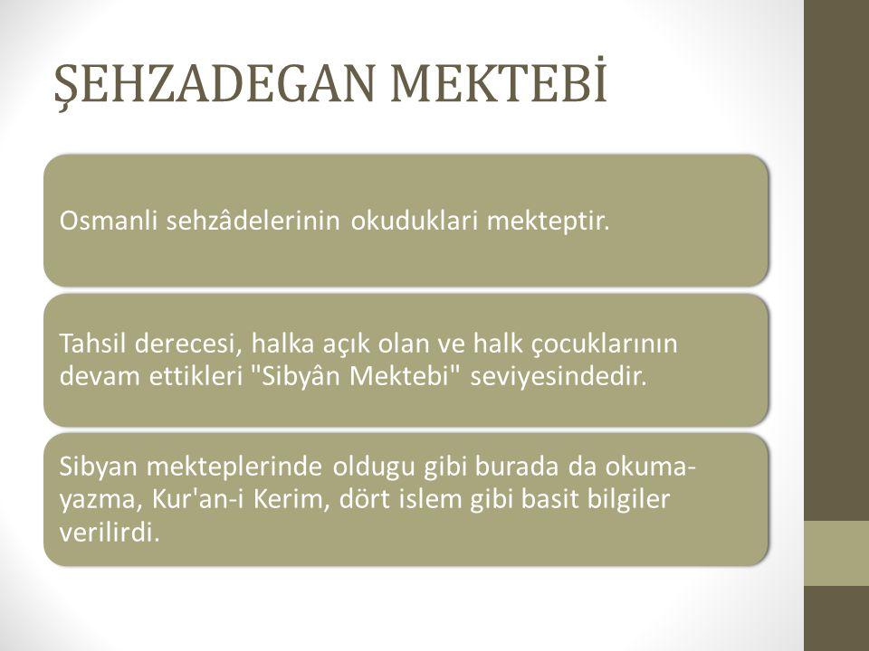ŞEHZADEGAN MEKTEBİ Osmanli sehzâdelerinin okuduklari mekteptir. Tahsil derecesi, halka açık olan ve halk çocuklarının devam ettikleri
