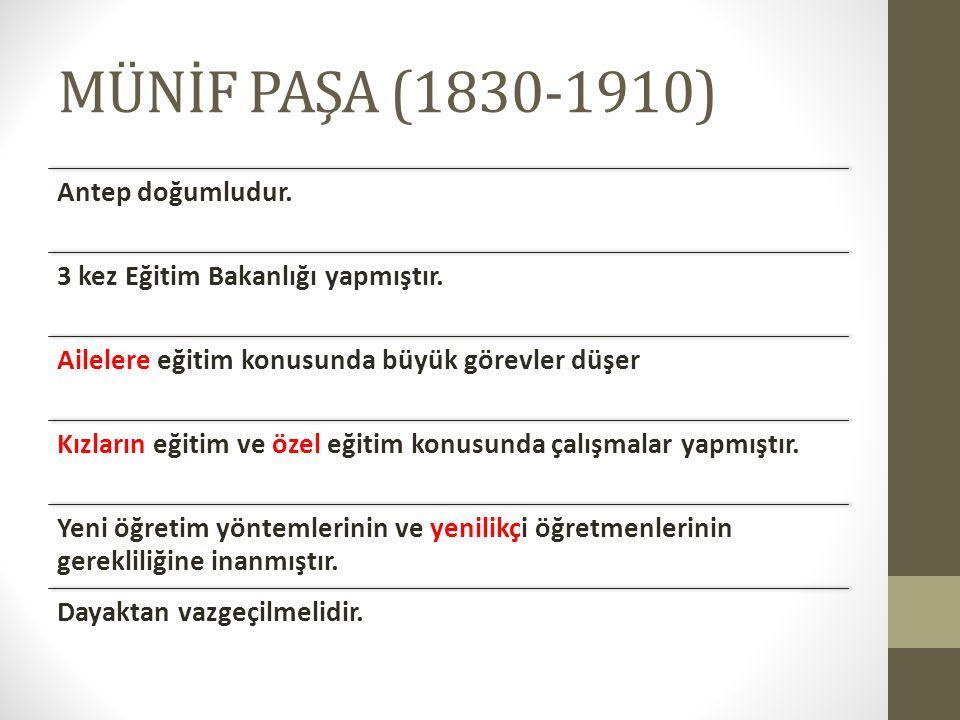MÜNİF PAŞA (1830-1910) Antep doğumludur.3 kez Eğitim Bakanlığı yapmıştır.