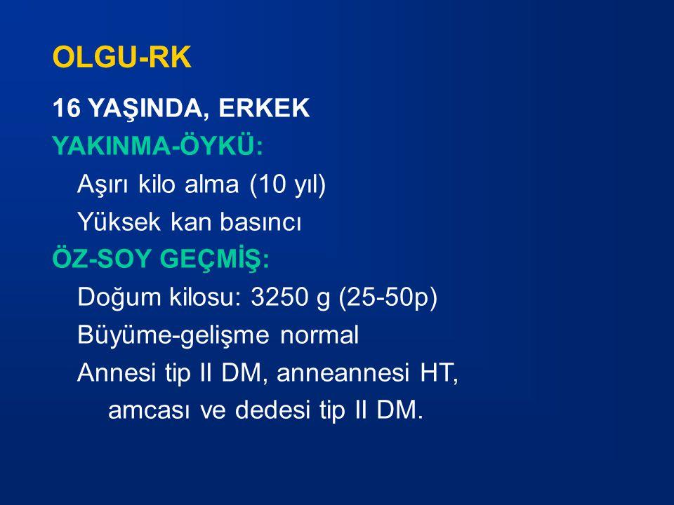 16 YAŞINDA, ERKEK YAKINMA-ÖYKÜ: Aşırı kilo alma (10 yıl) Yüksek kan basıncı ÖZ-SOY GEÇMİŞ: Doğum kilosu: 3250 g (25-50p) Büyüme-gelişme normal Annesi