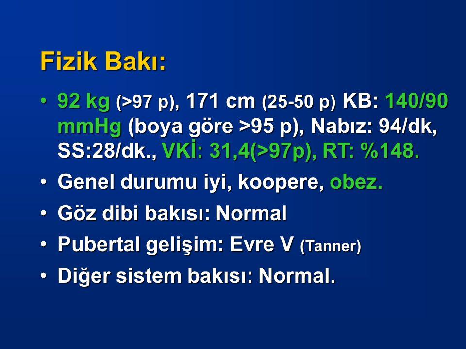 Fizik Bakı: 92 kg (>97 p), 171 cm (25-50 p) KB: 140/90 mmHg (boya göre >95 p), Nabız: 94/dk, SS:28/dk., VKİ: 31,4(>97p), RT: %148.92 kg (>97 p), 171 c
