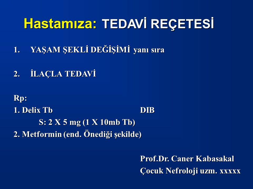 Hastamıza: TEDAVİ REÇETESİ 1.YAŞAM ŞEKLİ DEĞİŞİMİ yanı sıra 2.İLAÇLA TEDAVİ Rp: 1. Delix TbDIB S: 2 X 5 mg (1 X 10mb Tb) 2. Metformin (end. Önediği şe