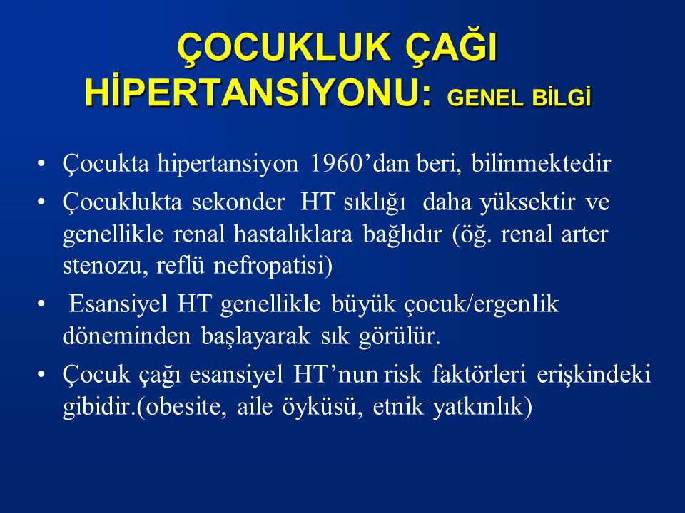 HİPERTANSİYON: TEDAVİ 1.İLAÇLA TEDAVİ ENDİKASYONU: Semptomatik hipertansiyonSemptomatik hipertansiyon Sekonder hipertansiyonSekonder hipertansiyon Hipertansif hedef organ hasarıHipertansif hedef organ hasarı Diyabetes mellitus (tip1 ve 2)Diyabetes mellitus (tip1 ve 2) İlaç dışı tedaviye yanıtsız hipertansiyonİlaç dışı tedaviye yanıtsız hipertansiyon Eşlik eden multiple KV risk (sigara, dislipidemi...) Endikasyon her bir çocuk için irdelenip kesin yararı beklenen koşullarda ilaç verilmelidir.