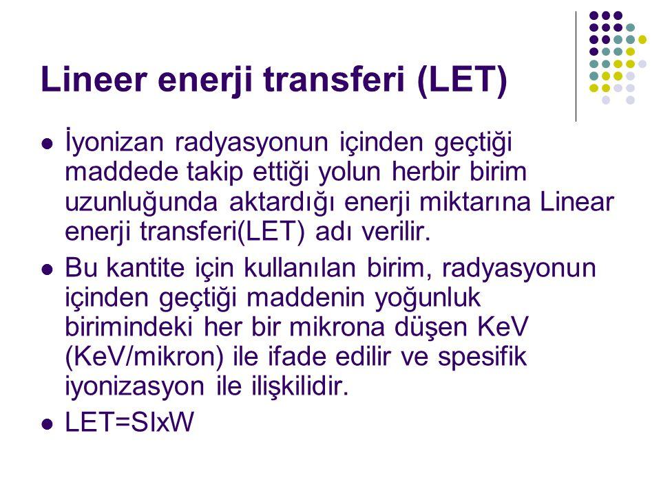 Lineer enerji transferi (LET) İyonizan radyasyonun içinden geçtiği maddede takip ettiği yolun herbir birim uzunluğunda aktardığı enerji miktarına Linear enerji transferi(LET) adı verilir.