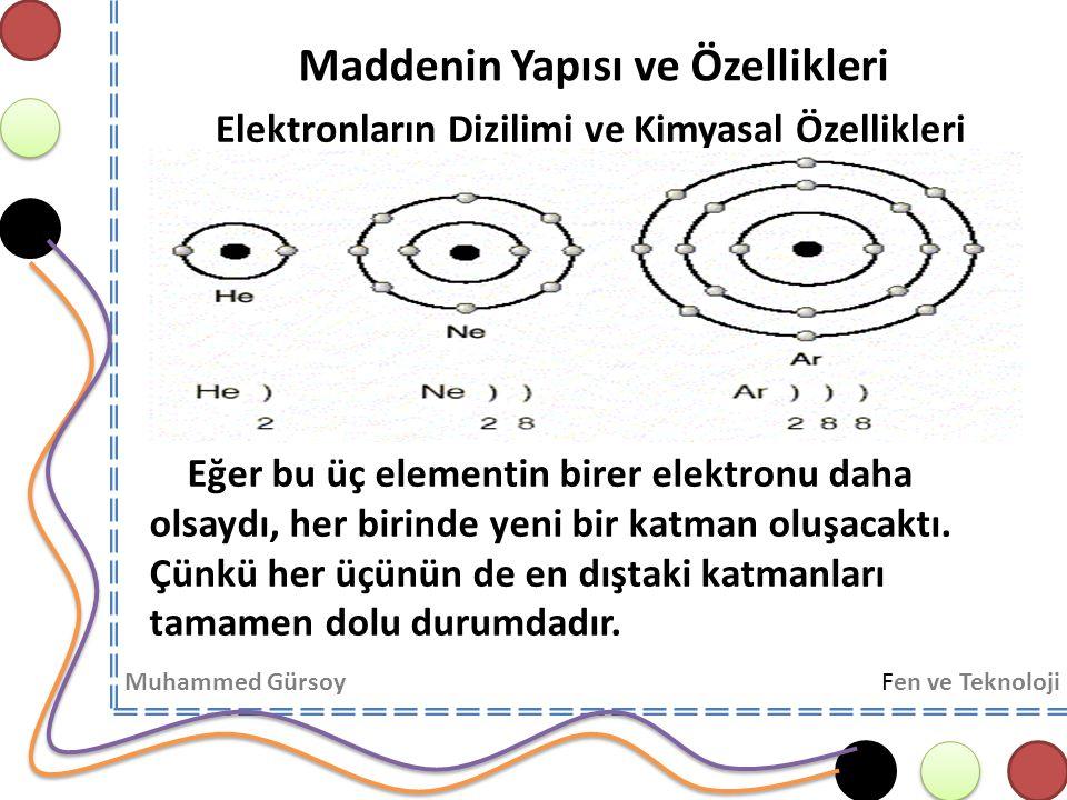 Maddenin Yapısı ve Özellikleri Muhammed GürsoyFen ve Teknoloji Elektronların Dizilimi ve Kimyasal Özellikleri 1.Katmanda en çok 2 elektron bulunması durumu dublet kuralı, 2.