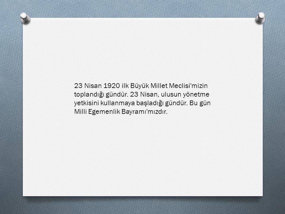 BİZİM BAYRAMIMIZ Bu gelen bizim bayram Yükseldi bak ünümüz 23 Nisan bizim En şerefli günümüz Al bayrağı açalım Gel gidelim törene Bin teşekkür bizlere Bugünleri verene Bizim için harcanan Boşa gitmez bu emek Çünkü her Türk çocuğu 23 Nisan demek İsmail Hakkı Talas