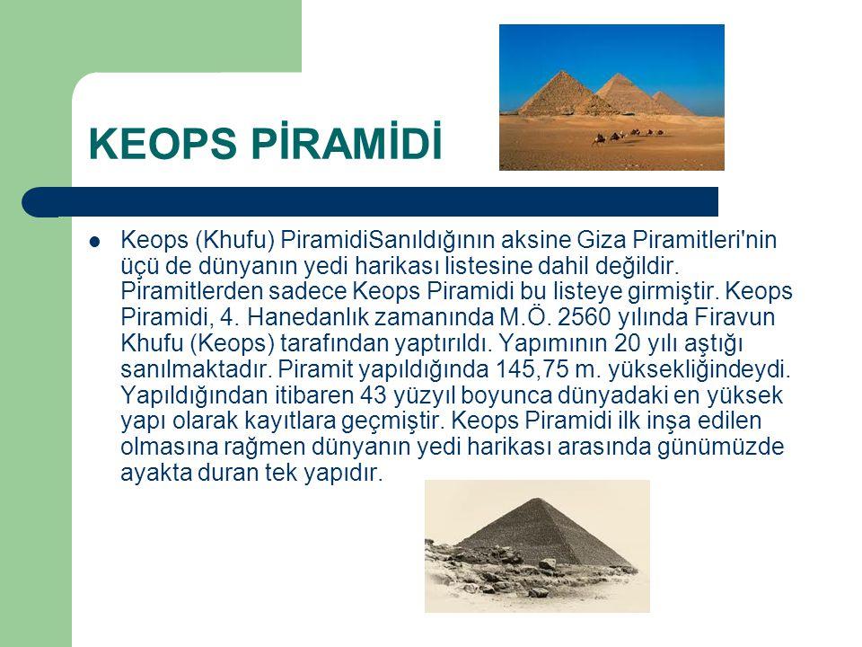 KEOPS PİRAMİDİ Keops (Khufu) PiramidiSanıldığının aksine Giza Piramitleri'nin üçü de dünyanın yedi harikası listesine dahil değildir. Piramitlerden sa