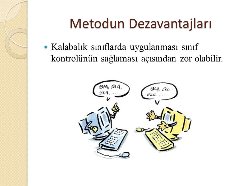 Metodun Dezavantajları Kalabalık sınıflarda uygulanması sınıf kontrolünün sağlaması açısından zor olabilir.
