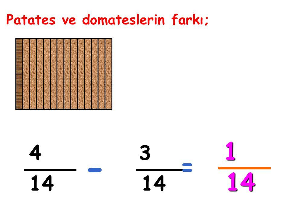 Patates ve domateslerin farkı; 4 3 - = 1 14