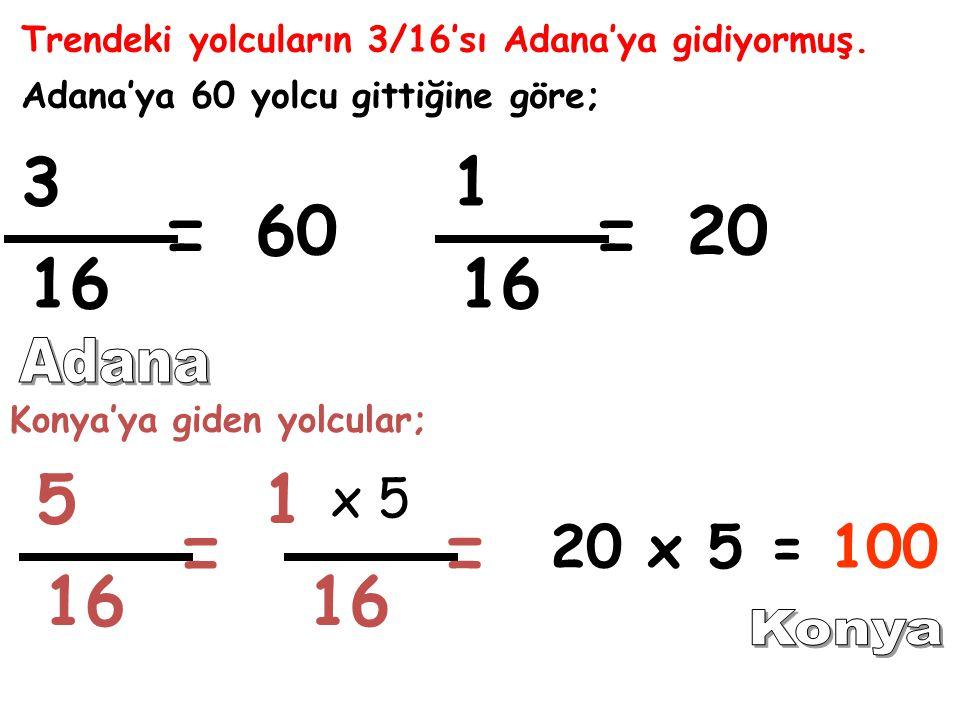 Trendeki yolcuların 3/16'sı Adana'ya gidiyormuş. Adana'ya 60 yolcu gittiğine göre; 3 = Konya'ya giden yolcular; 5 = 1 60 1 16 = 20 x 5 = x 5 = 100