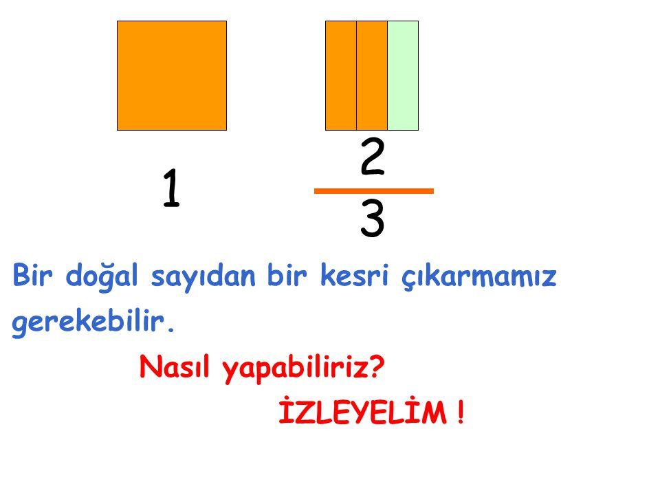 2 3 Bir doğal sayıdan bir kesri çıkarmamız gerekebilir. Nasıl yapabiliriz? İZLEYELİM ! 1